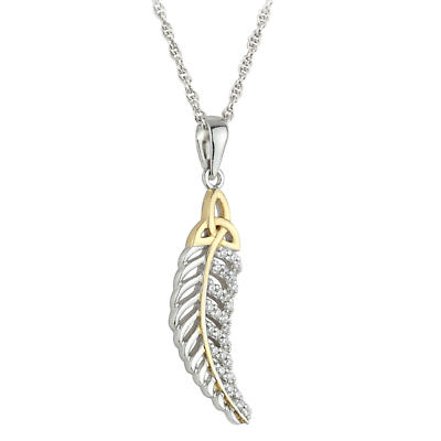 Jean Butler Jewelry - Sterling Silver with 18k Rose Gold Plate CZ Feather Trinity Knot Irish Pendant