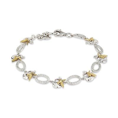 Jean Butler Jewelry - Sterling Silver CZ Celtic Vine & 18k Yellow Gold Plated Bird Link Bracelet