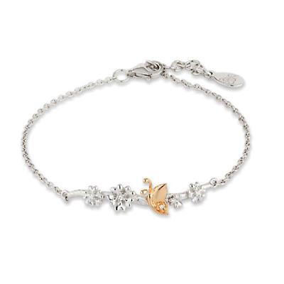 Jean Butler Jewelry - Sterling Silver Primrose & Butterfly 18k Rose Gold Plated Bark Irish Bracelet