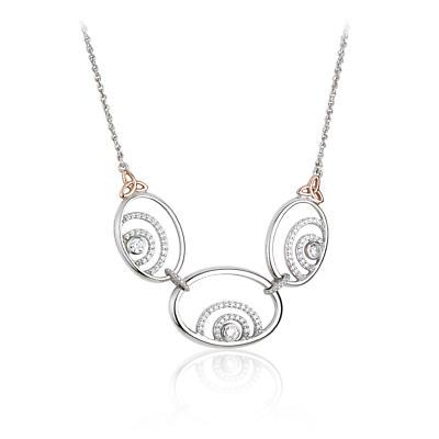 Jean Butler Jewelry Irish Necklace - Sterling Silver Irish Shamrock and Primrose Irish Necklace