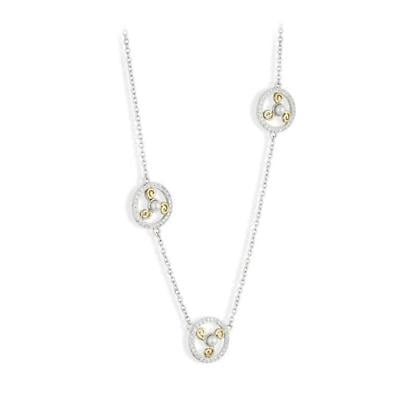 Jean Butler Jewelry - Sterling Silver CZ & Pearl 18k Yellow Gold Plated 3 Triskele Irish Necklace
