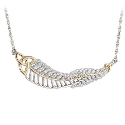 Jean Butler Jewelry - Sterling Silver with CZ Feather & 18k Yellow Gold Plate Trinity Knots Irish Necklace