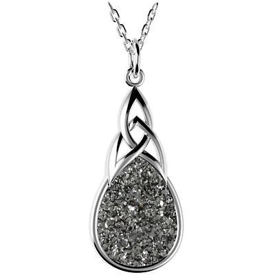 Celtic Necklace - Sterling Silver Celtic Knot Black  Drusy Drop Pendant
