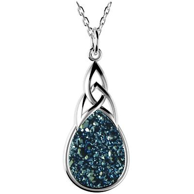 Celtic Necklace - Sterling Silver Celtic Knot Drusy Drop Pendant Blue