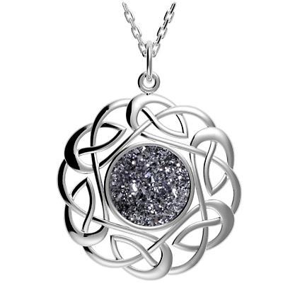 Celtic Necklace - Sterling Silver Round Celtic Knot Black Drusy Pendant