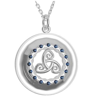 Irish Necklace - Sterling Silver with Blue CZ Stones 'Tir na nOg' Celtic Pendant