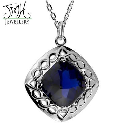 Irish Necklace - Sterling Silver Blue Quartz Cable Celtic Weave Pendant