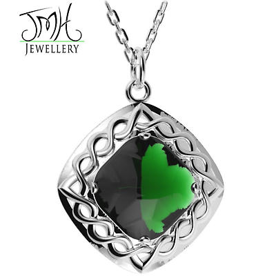 Irish Necklace - Sterling Silver Green Quartz Cable Celtic Weave Pendant