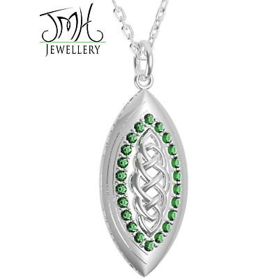 Irish Necklace - Sterling Silver with Green CZ Stones Marquise Celtic Pendant