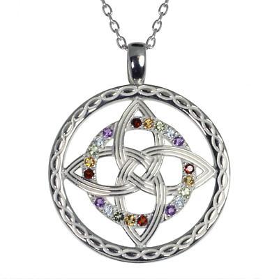 Irish Necklace - Sterling Silver Celtic Knot Rainbow Pendant
