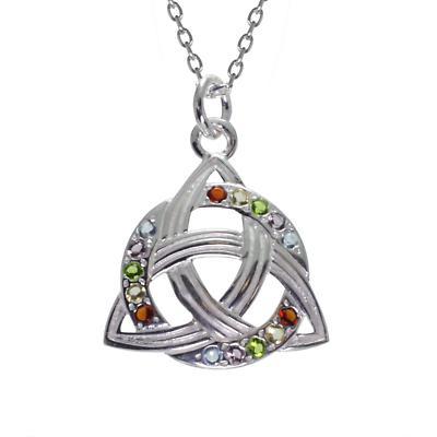 Irish Necklace - Sterling Silver Celtic Rainbow Pendant
