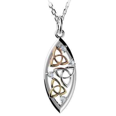 Irish Necklace - Sterling Silver Trinity Knot Teardrop Pendant