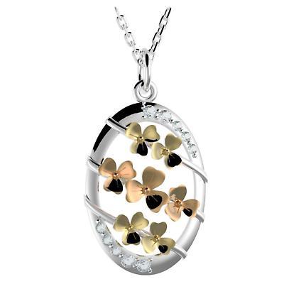 Irish Necklace - Sterling Silver Shamrock Ribbon Pendant