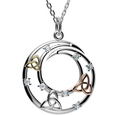 Irish Necklace - Sterling Silver Trinity Knot Circle Pendant