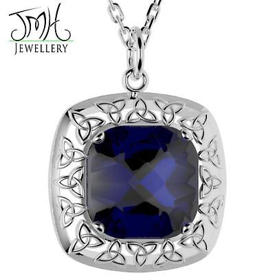 Irish Necklace - Sterling Silver Blue Quartz Trinity Knot Pendant