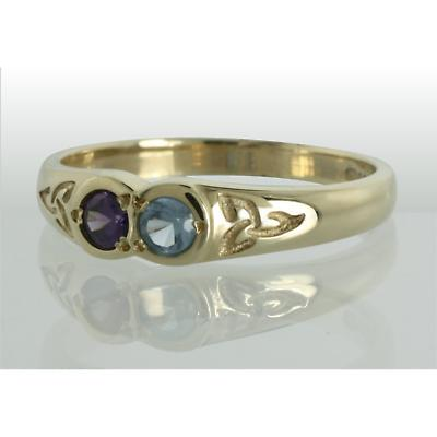 Family Birthstone Trinity Knot Ring - 2 Stones