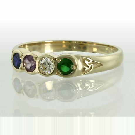Family Birthstone Trinity Knot Ring - 4 Stones