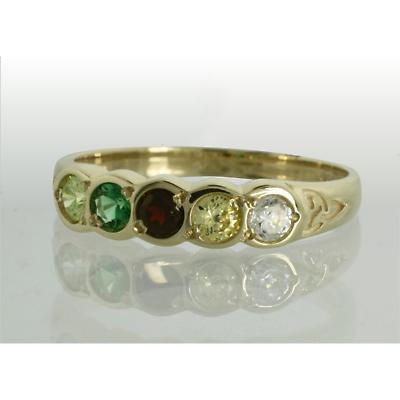 Family Birthstone Trinity Knot Ring - 5 Stones