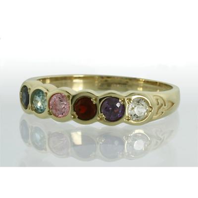 Family Birthstone Trinity Knot Ring - 6 Stones