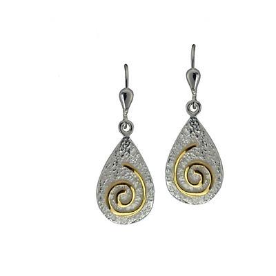 Irish Earrings - Sterling Silver Newgrange Spiral Earrings