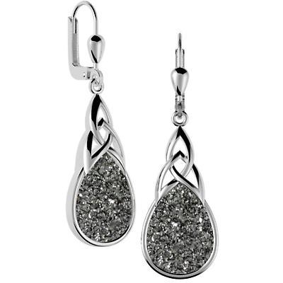 Celtic Earrings - Sterling Silver Celtic Knot Black  Drusy Drop Earrings