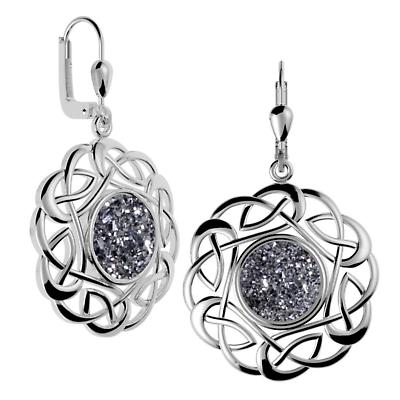 Celtic Earrings - Sterling Silver Round Celtic Knot Black  Drusy Earrings