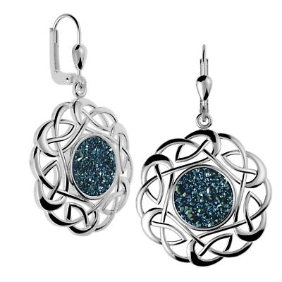 Celtic Earrings - Sterling Silver Round Celtic Knot Drusy Earrings Blue