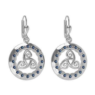 Irish Earrings - Sterling Silver with Blue CZ Stones 'Tir na nOg' Celtic Earrings