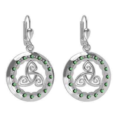 Irish Earrings - Sterling Silver with Green CZ Stones 'Tir na nOg' Celtic Earrings