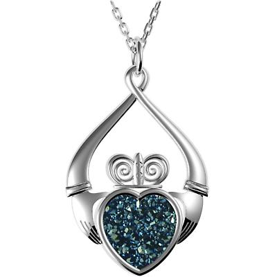 Irish Necklace - Sterling Silver Claddagh Drusy Pendant Blue