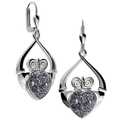 Irish Earrings - Claddagh Black Drusy Earrings