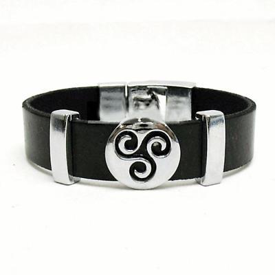 Celtic Bracelet - Celtic Triskele Black Leather Bracelet