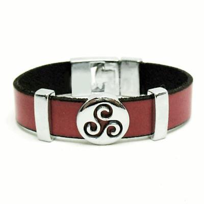 Celtic Bracelet - Celtic Triskele Red Leather Bracelet