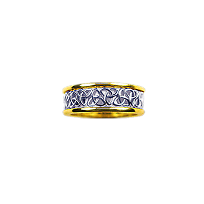 Celtic Ring - Ladies Yellow Gold Trim with White Gold Trinity Knot Ring