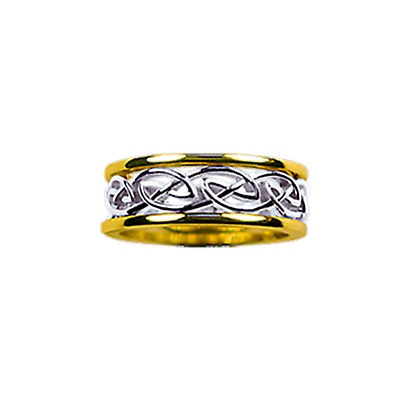 Celtic Ring - Men's Yellow Gold Trim with White Gold Eternity Knot Ring