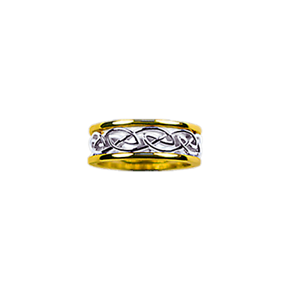 Celtic Ring - Ladies Yellow Gold Trim with White Gold Eternity Knot Ring