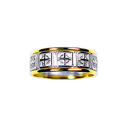 Celtic Ring - Men's Yellow Gold Trim with White Gold Celtic Cross Ring