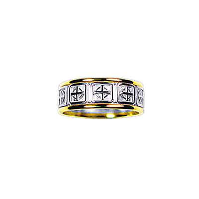 Celtic Ring - Ladies Yellow Gold Trim with White Gold Celtic Cross Ring