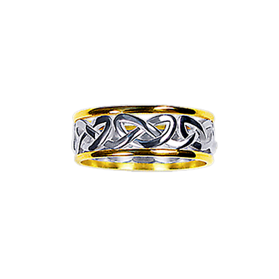 Celtic Ring - Men's Yellow Gold Trim with White Gold Celtic Heart Knot Ring