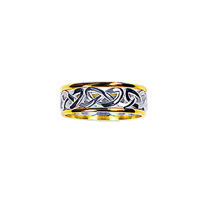 Celtic Ring - Ladies Yellow Gold Trim with White Gold Celtic Heart Knot Ring