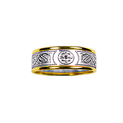 Celtic Ring - Men's Yellow Gold Trim with White Gold Celtic Warrior Ring