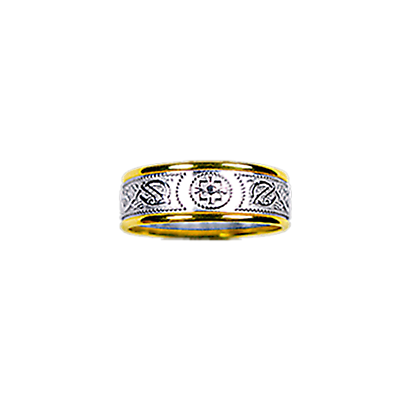 Celtic Ring - Ladies Yellow Gold Trim with White Gold Celtic Warrior Ring