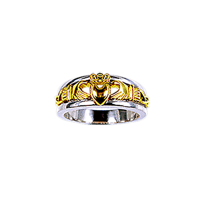 Claddagh Ring - Yellow and White Gold Calddagh Celtic Knot Ring
