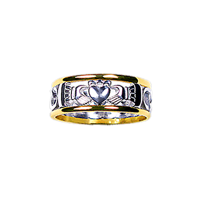 Claddagh Ring - Men's Yellow Gold Trim with White Gold Claddagh Celtic Knot Ring