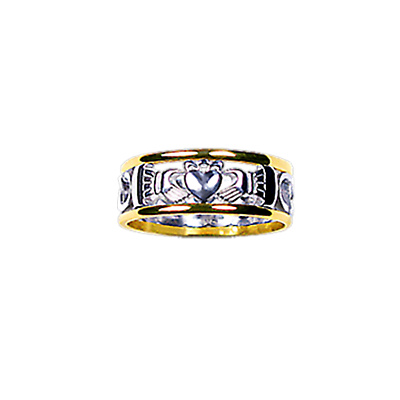 Claddagh Ring - Ladies Yellow Gold Trim with White Gold Claddagh Celtic Knot Ring