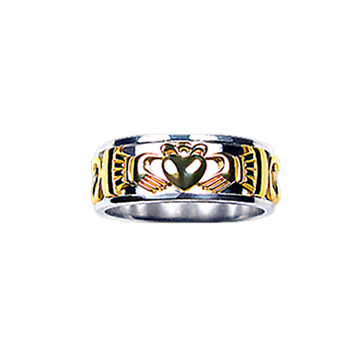 Claddagh Ring - Men's Yellow and White Gold Claddagh Celtic Knot Ring