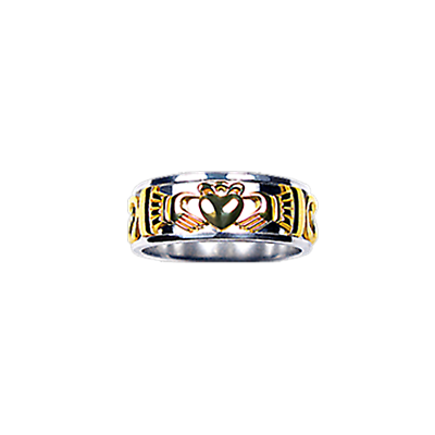 Claddagh Ring - Ladies Yellow and White Gold Claddagh Celtic Knot Ring