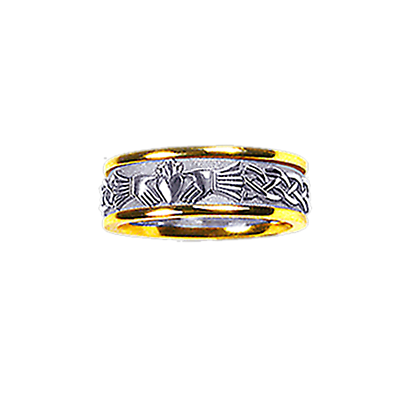 Claddagh Ring - Men's Yellow Gold Trim with White Gold Claddagh Celtic Knot Solid Ring