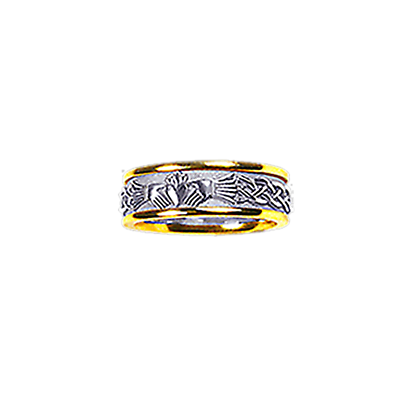 Claddagh Ring - Ladies Yellow Gold Trim with White Gold Claddagh Celtic Knot Solid Ring