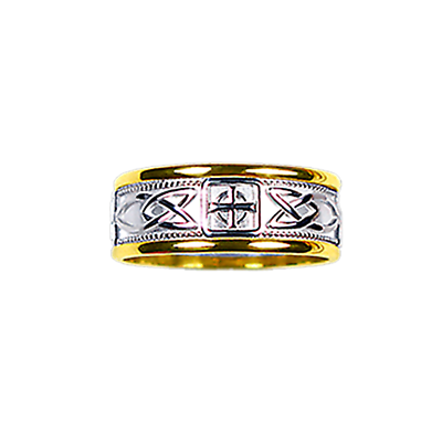 Celtic Ring - Men's Yellow Gold Trim with White Gold Celtic Knot and Celtic Cross Ring